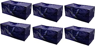 EarthWise Storage Bags Extra Large Heavy Duty Reusable Moving Totes w/Zipper Closure Backpack Carrying Handles - Compatible with IKEA Frakta Hand Carts Boxes Bin (Pack of 6)