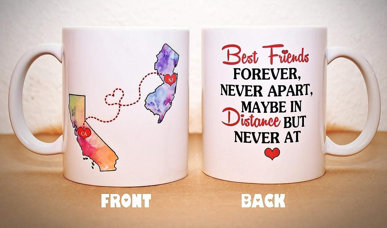 Long Distance Mug - BFF Coffee Mug - Custom State Coffee Mug - Best Friends Mug - Personalized with Your Custom Quote, All States, Countries Available - 11 oz or 15 oz ONE MUG