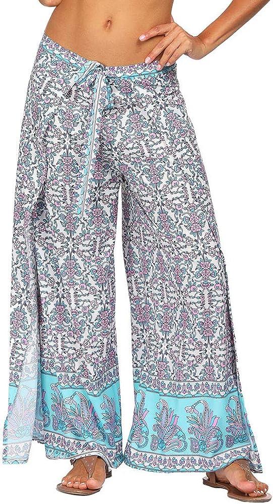 KemissLan Women High Waist Beach Pants Digital Printing Wide Leg Pants Bohemian Loose Lace Casual Pants