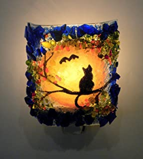 Halloween Black Cat & Bat Autumn Harvest Moon Recycled Glass Art Decorative Night Light Nightlight