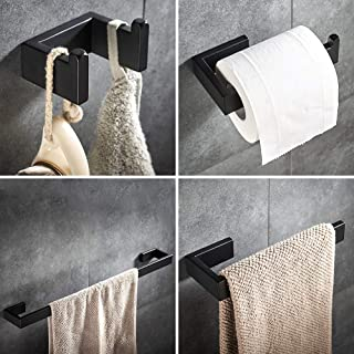 4 piece Bathroom Hardware Set Matte Black Stainless Steel Towel Bar Wall Mounted Bathroom Accessories