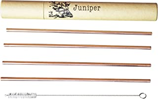 Juniper Copper Drinking Straws Set of 4, Free Cleaning Brush, Eco-friendly Packaging