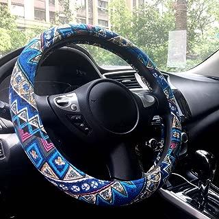 "Rayauto Automotive Interior Ethnic Style Flax Cloth Wrap Anti Slip Car Steering Wheel Cover 15"""