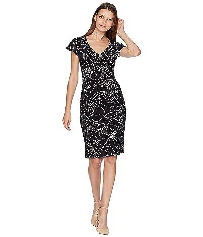 LAUREN Ralph Lauren Samson Floral Cap Sleeve Day Dress (Black/Colonial Cream) Women