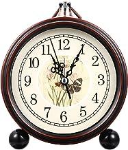 Garneck Despertador vintage retrô alto despertador de mesa, relógio de hora de fazenda sem tique-taque para crianças, adul...