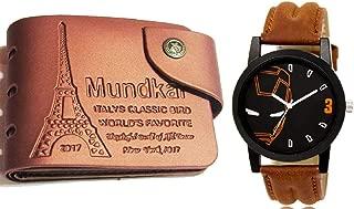 Mundkar Mens Combo of Wallet & Iron Man Dial Watch