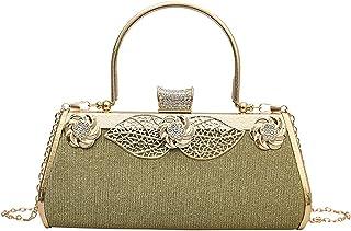 MEGAUK Damen Glitzer Abendtasche Vintage Clutch Tasche mit Abnehmbare Kette für Hochzeit Bankett Prom Party, Gold