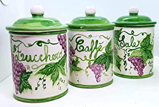 Set 3 Barattoli Sale Zucchero Caffé Linea Uva Ceramica Le Ceramiche del Castello Handmade Pezzi Unici Made in Italy Dimens...