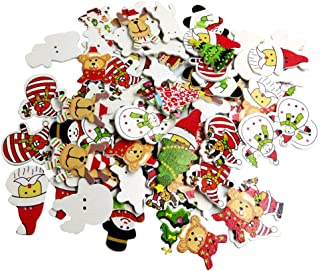 Jili Online 100 Pieces Mixed Christmas Tree Elk Snowman Santa Claus 2 Holes Wood Wooden Buttons Embellishments DIY Card Crafts