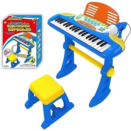 ZUJI Piano Infantil 37 Teclas Electrónico Teclado Keyboard Piano Juguete con Micrófono Instrumentos Musicales Regalo para Niños