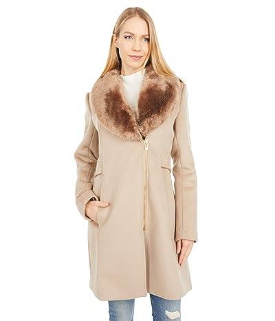 Via Spiga Wool Coat with Faux Fur Lapel Collar (Chinchilla) Women