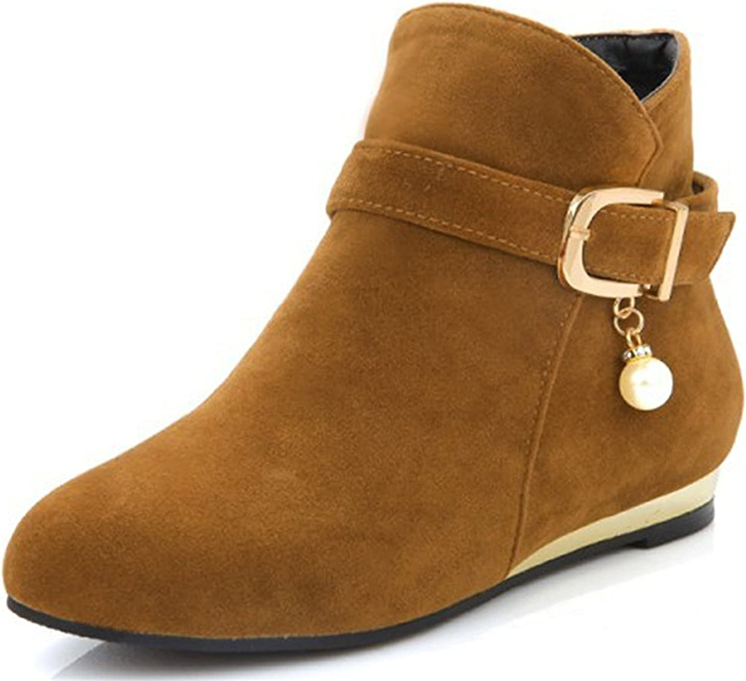 Davikey Women's Sweet Strappy Buckle Round Toe Booties Wedge Low Heel Side Zipper Ankle Boots