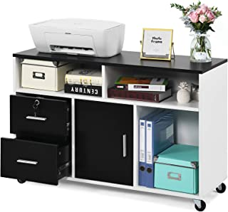 Open Storage Shelves for Home Barcley Wood File Cabinets with Lock White Bedroom Storage Cabinet Printer Side Cabinet Modern Lateral Mobile Filing Cabinets with Wheels
