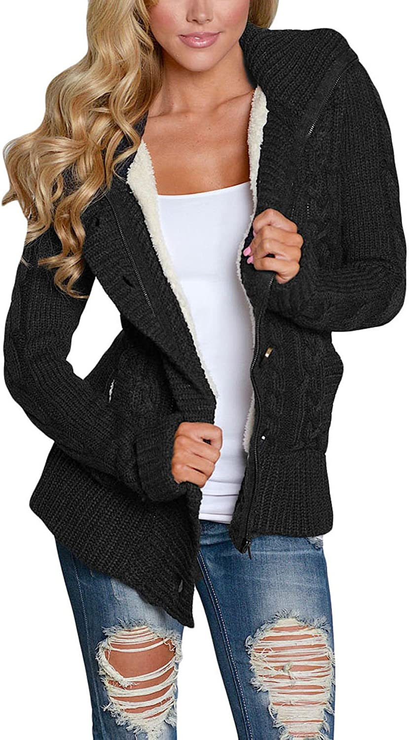 FIYOTE Strickjacken Lose mit Tasche Strickmantel mit Kapuze Winter Sweater Warm Strickwaren Langarm Strickcardigan 7 Farbe S/M/L/XL/XXL 1-schwarz