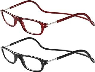TBOC Pack: Gafas de Lectura Presbicia Vista Cansada – (Dos Unidades) Graduadas +3.50 Dioptrías Montura Burdeos y Negra Hombre Mujer Imantadas Plegables Lentes Aumento Leer Ver Cerca Cuello Imán