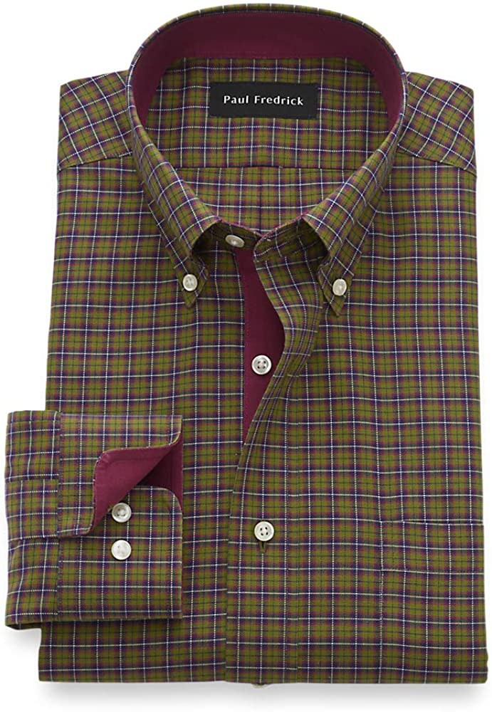 Paul Fredrick Men's Slim Fit Non-Iron Cotton Tartan Dress Shirt