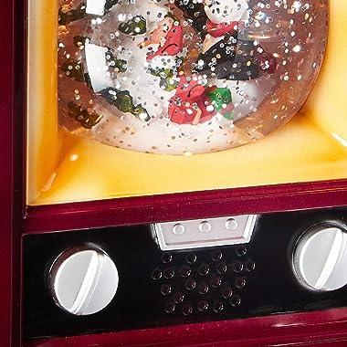 ICE ARMOR Holiday Christmas Decorative Snow Globe TV Home Décor Snowman Christmas Tree, Burgundy, Small (93WDL1734-3)