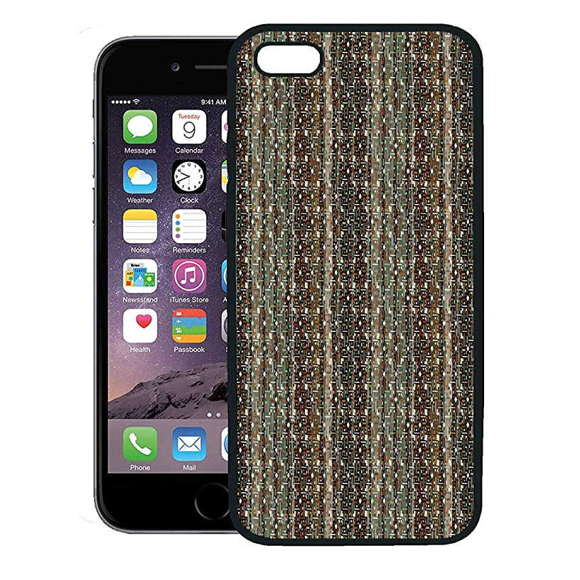 Semtomn Phone Case for iPhone 8 Plus case,Woven Ethnic Tribal Boho Pixel Pattern Sackcloth Bohemian Burlap iPhone 7 Plus case Cover,Black