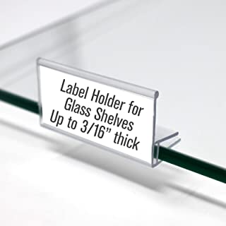Glass Shelf Sign Holder, Clear Label Clip for Glass Shelving up to 3/16