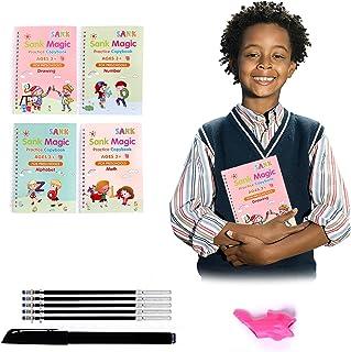 4pcs Sank Magic Practice Copybook for Kids - The Print Handwiriting Workbook-Reusable Writing Practice Book (Book with Pe...