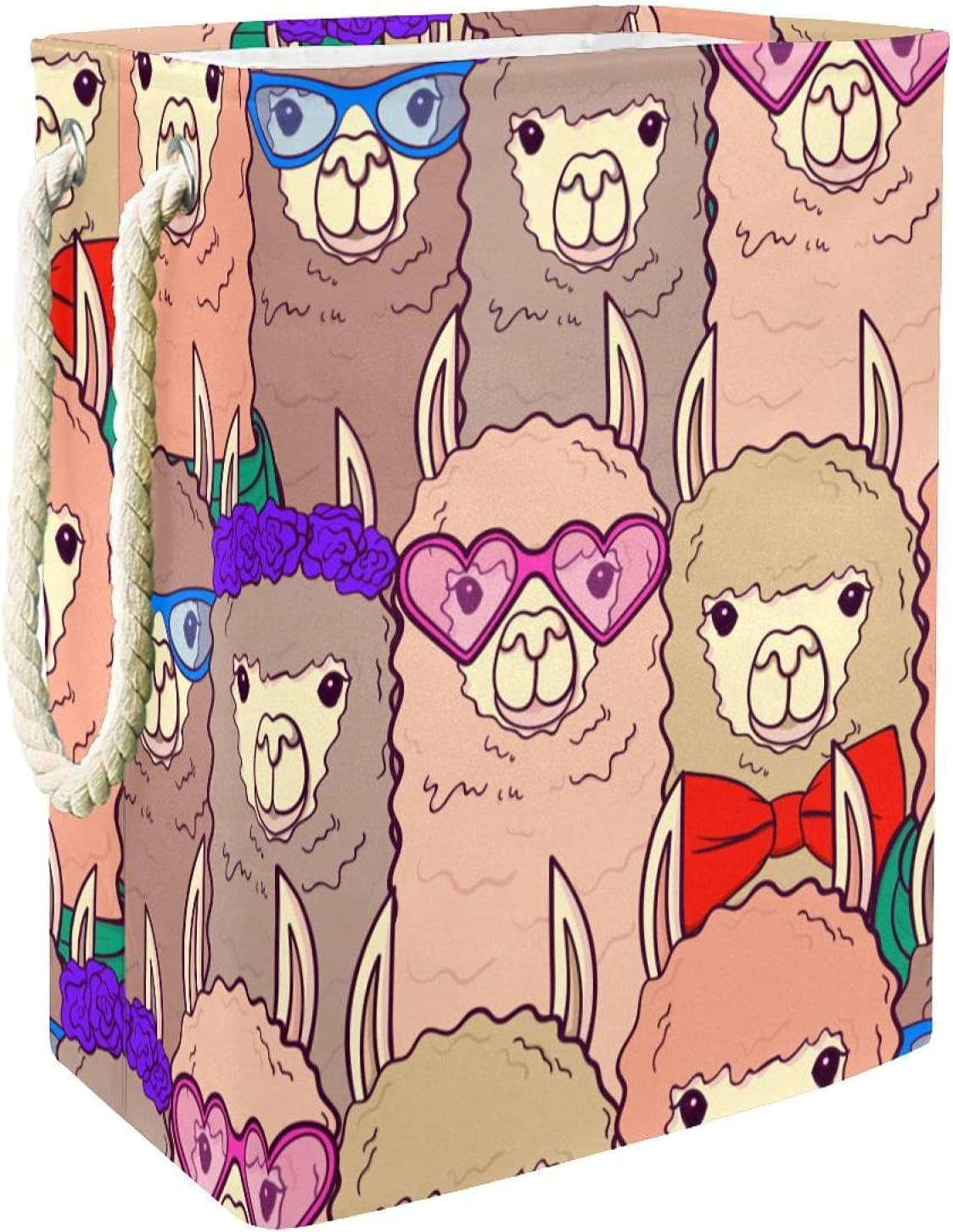 Cartoon Hipster Alpaca Lamas Faces Collapsible Re Basket Bargain sale Ranking TOP2 Laundry