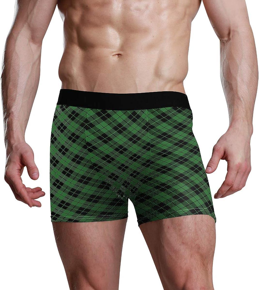 Mens Underwear Briefs New Year's Plaid Breathable Long Boxer Briefs Underwear Boys