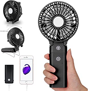 DOIOWN Portable Handheld Fan USB Mini Table Desk Personal Fan with 4000mAh Rechargeable Power Bank for Travel Outdoor Pool Car Desk (4000mAh Portable Charger&Black)