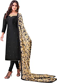 Rajnandini Women's Black chanderi silk Embroidered Semi-Stitched Salwar Suit Material With Flower Printed Dupatta