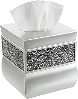 Creative Scents Square Tissue Box Cover Decorative Tissue Holder is Finished in Beautiful Silver Mosaic Glass Brushed Nick...