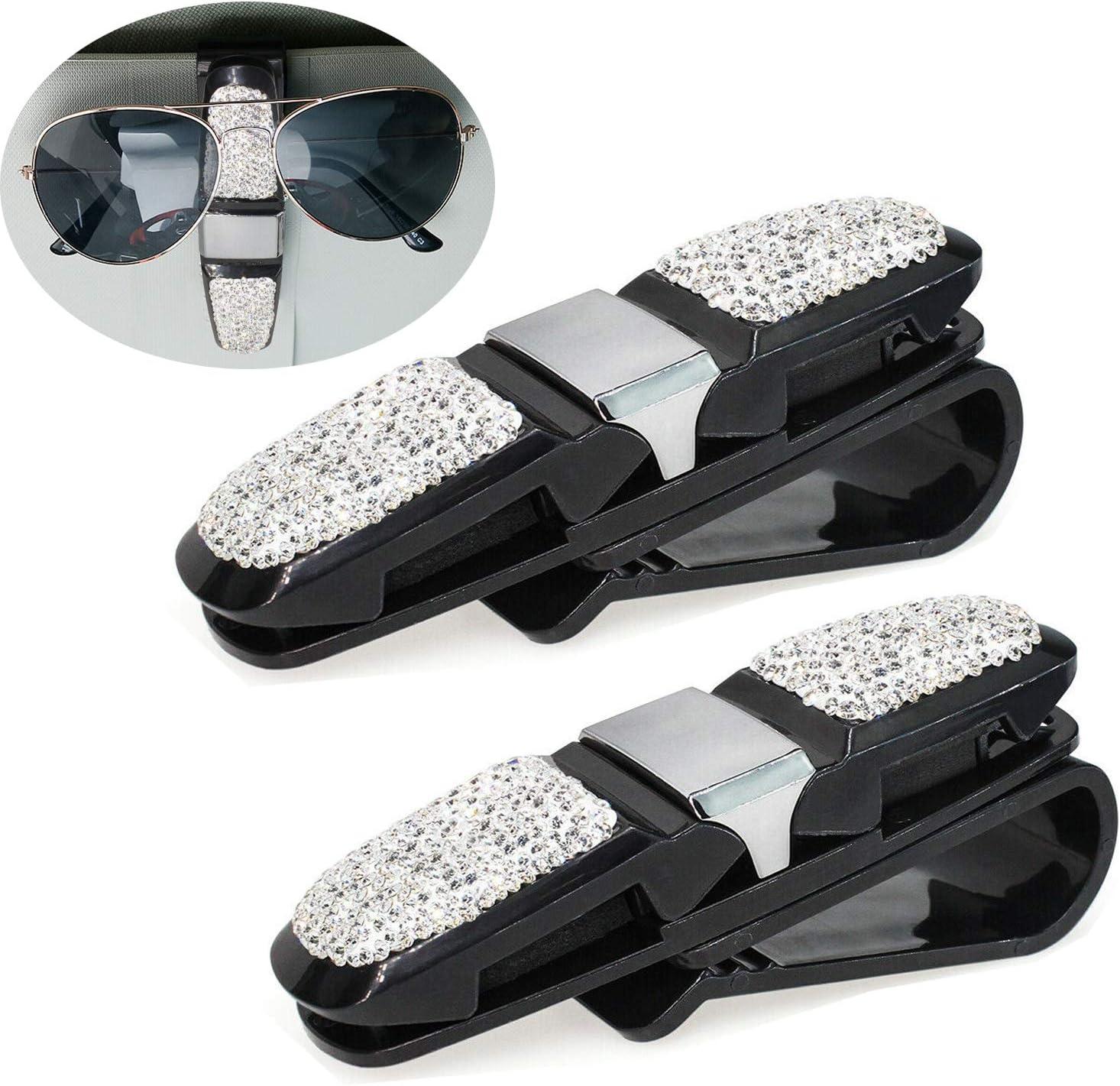 Glasses Holder for Car Visor, 2pcs Bling Crystal Rhinestones Car