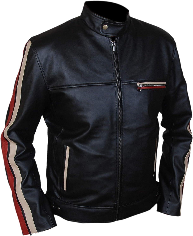 F&H Kid's Racing Stripes Cafe Racer Genuine Leather Jacket
