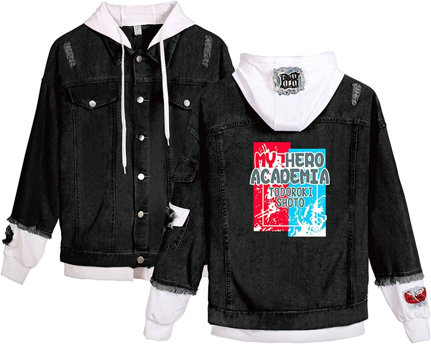LZZSWDT Unisex Denim Jacket Anime My Max 65% OFF Academia Hooded Cospla SEAL limited product Hero