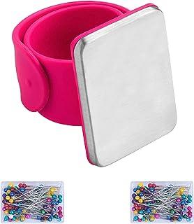 LAITER 1 Pcs Puerta magnética con brazalete de presión y 200 piezas de alfileres de cabeza de vidrio multicolor Herramienta de cojín de aguja magnética para trabajos de costura