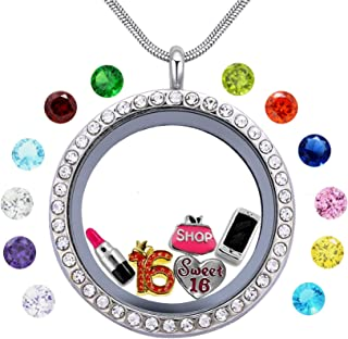 beffy Girl's Happy Birthday Gift & Sweet Sixteen, Teen Girl Gift, Floating Living Memory Charms Lockets Necklace