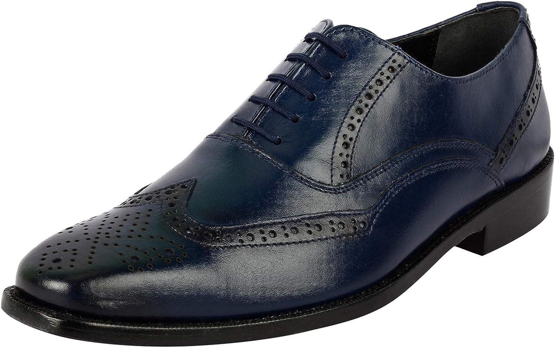 LIBERTYZENO Brogue Dress Shoes for Men Wingtip/Cap Toe Genuine Leather Lace Up Formal Business Shoes