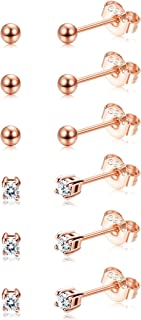 6 Pairs Sterling Silver Tiny Ball Stud Earrings for Women Girls Round CZ Earrings Set