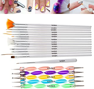 Professional Great Quality Nail Art Set Kit With 15 Brushes / Stripers / Liners In White And 5 Double Ended Dotting Marbling Tools / Dotters By VAGA©