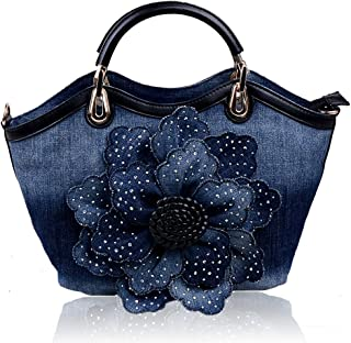 Ladies Girls Womens Denim Handbags Jean Flower Bag Shoulder Bag Shopper Messenger Tote Bags