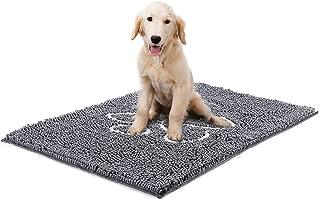 YOH Rug Chenille Doormat Super Absorbent Dog Paw Grey Rug 23 x 35 inch Bathroom Mat Non-Skid Door Mat Machine Washable Inside & Outdoor Area Rug