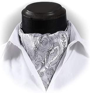 Men's Floral Paisley Jacquard Woven Self Cravat Tie Ascot