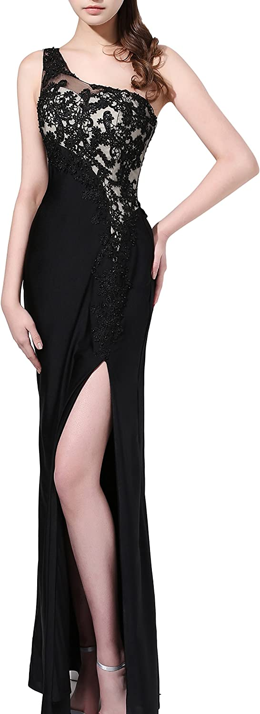 Butmoon Women's One Shoulder Side Split Black Formal Evening Gowns