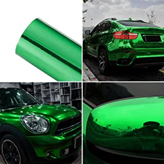ATMOMO Green Holographic Chrome Mirror Vinyl Wrap Rainbow Finish Roll Glossy DIY Air-Release Adhesive Film 1.52Mx60CM