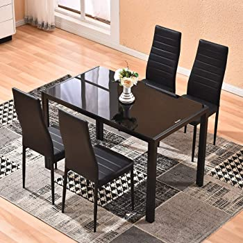 Amazon Com 4homart Dining Table With Chairs 5 Pcs Glass Dining Kitchen Table Set Modern Tempered Glass Top Table And Pu Leather Chairs With 4 Chairs Dining Room Furniture Black Table