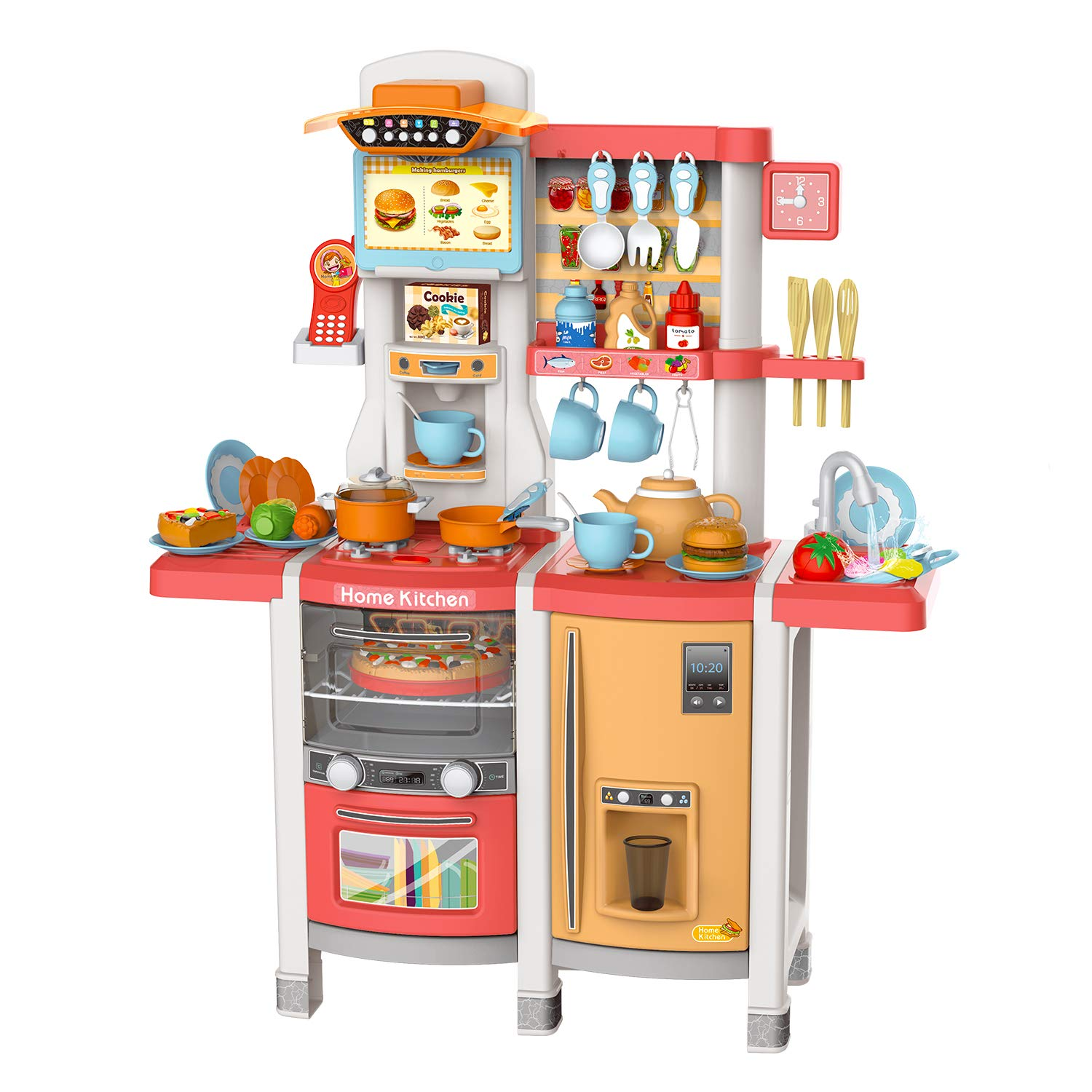 Play Kitchen for Kids Reimotkon Little Cooks Kitchen Toy Accessories Set for Children Kitchen Play Set with Realistic Lights /& Sounds