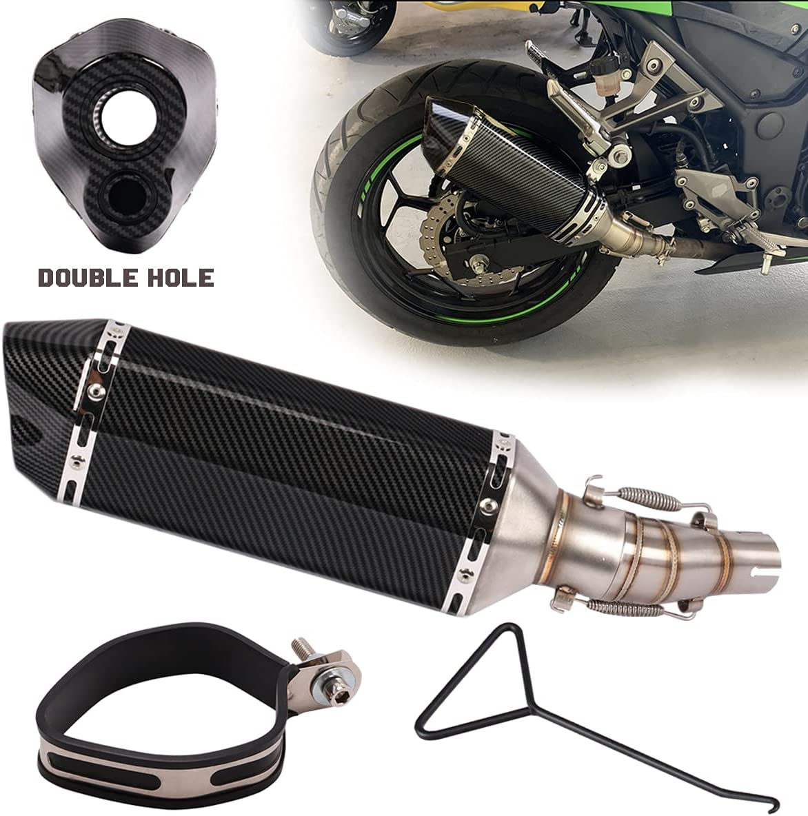 KAJIMOTOR 51mm Slip On 2'' Exhaust Dual Motorcycle System Outlet Dealing full price Max 47% OFF reduction