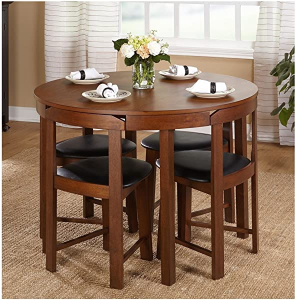 Hideaway Dining Table Home Low Back Harrisburg Tobey Compact Round Dining Set Space Saving Design Foam Seat Cushions Round Dining Table And Four Chairs 5 APieces MDF Rubberwood Brown Grey