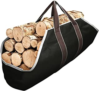 Amagabeli Large Canvas Log Tote Bag Carrier Indoor Fireplace Firewood Totes Log Holders..