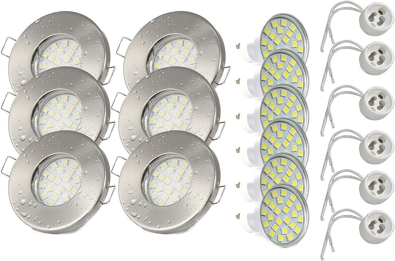 6er KW Set Einbaustrahler IP65 Optik  Edelstahl gebürstet Bad  Dusche  Sauna  inkl. GU10 5Watt LED Leuchtmittel 6000Kelvin (kaltweiss) 450Lumen (Leuchtmittel austauschbar)  Einbauleuchten Edelstahl lackiert rostfrei