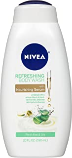 NIVEA Refreshing Fresh Aloe and Lilly Body Wash - with Nourishing Serum - 20 fl. oz. Bottle