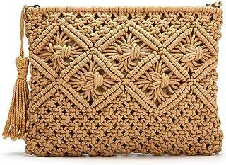 TOOGOO Clutch Purses for Women Tassel Straw Handbag Vintage Handwoven Bag Summer Beach Bag,Camel
